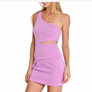 BCBGeneration Purple/Pink One Shoulder Dress